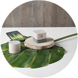 Aira-wheat-straw-Bluetooth-speaker with logo