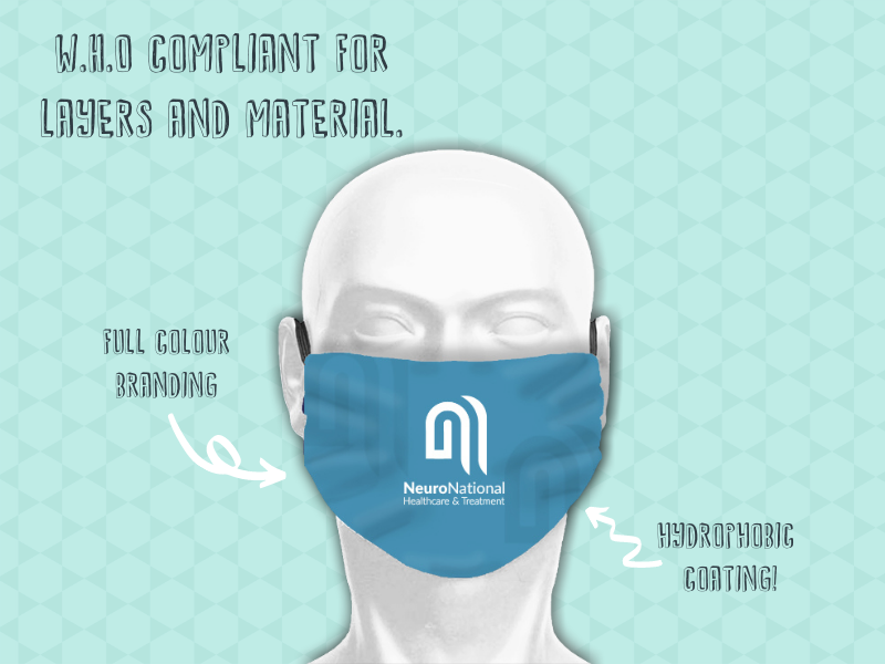 Our 3-ply branded face masks and coverings is WHO compliant