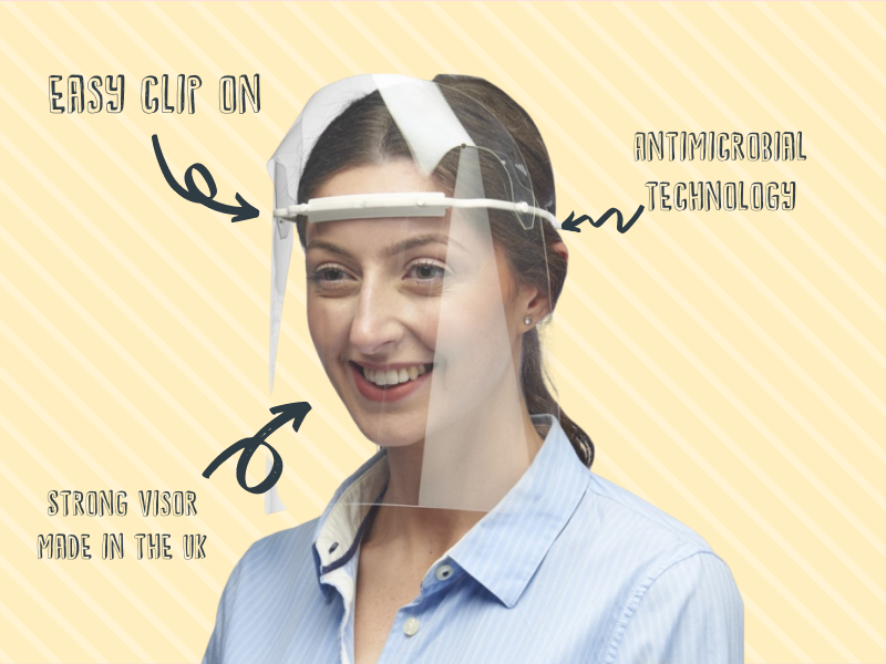 Easy clip on visor shield with antimicrobial technology built into the frame