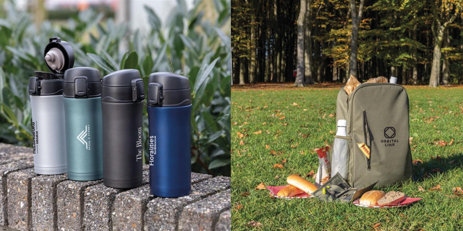 Cool bags with branding and stainless steel vacuum mug printed.